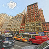 This was a tone mapped image of a hand held pano-stitch near Penn Station on Manhattan.