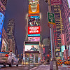 Times Square NY, January 2010 (night before the big snowstorm) looking south.  Taken in a 3 exposure HDR series (on my briefcase... no tripod)