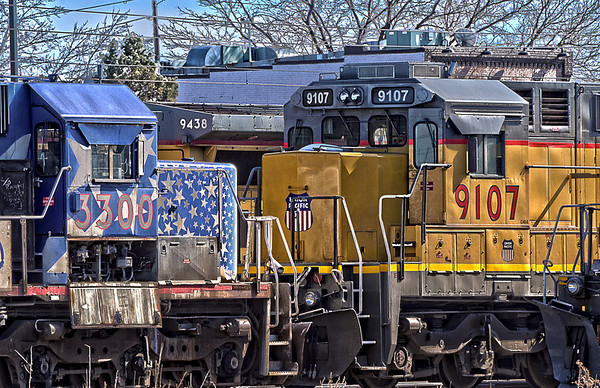 HDR of three Union Pacific Locomotives in the Union Pacific Engine Maintenance yards, Denver CO.