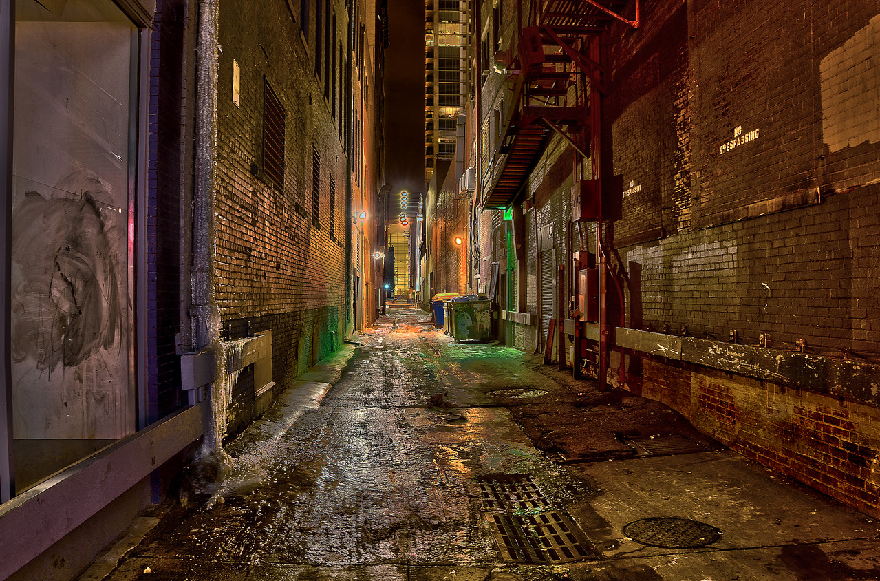 HDR of a captivating nondescript alley along the 16th Street Mall in Denver CO.  (all about texture here! Well... and the green hue was kinda cool too!)
